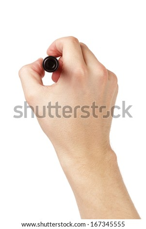 adult man hand to write something on white board, isolated - stock photo