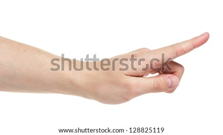 adult man hand touching virtual screen, isolated on white - stock photo