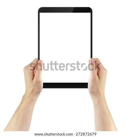 adult man hands holding generic tablet pc with white screen, isolated - stock photo