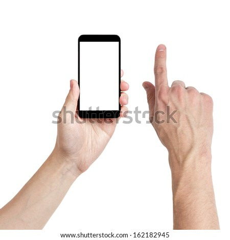 adult man hands using mobile phone with white screen, isolated - stock photo