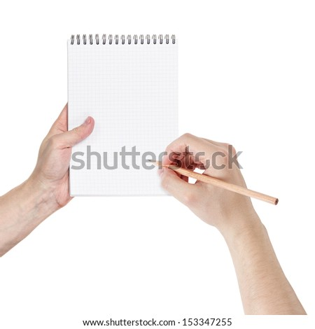 adult man hands writing something in notepad, isolated