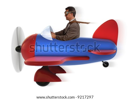 adult man in toy airplane on white background - stock photo