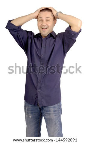 adult man isolated in white