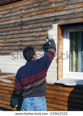 Adult man, painting wooden house wall with brush