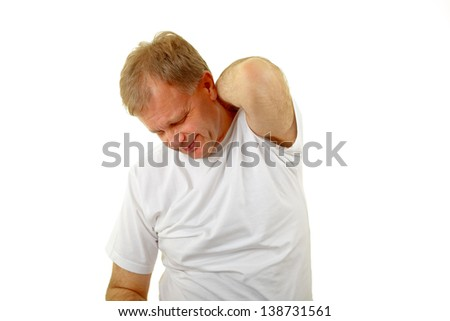 adult man scratching his itchy back