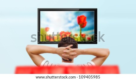 Adult man watching educational channel about nature by tv - stock photo