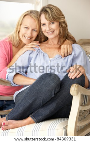 Adult mother and daughter at home - stock photo