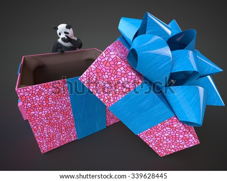 Adult panda surprised content big gift box purple with bright blue bow on dark background. Bamboo bear render and empty present lid open. Fluffy teddy stands behind surprise box and hold his buy image - stock photo