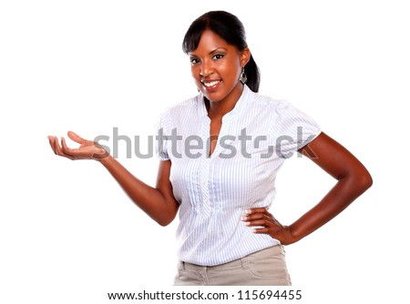 Adult pretty woman looking and smiling at you on isolated background - stock photo