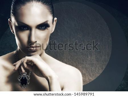 Adult pretty woman stylish portrait. Skin texture saved - stock photo