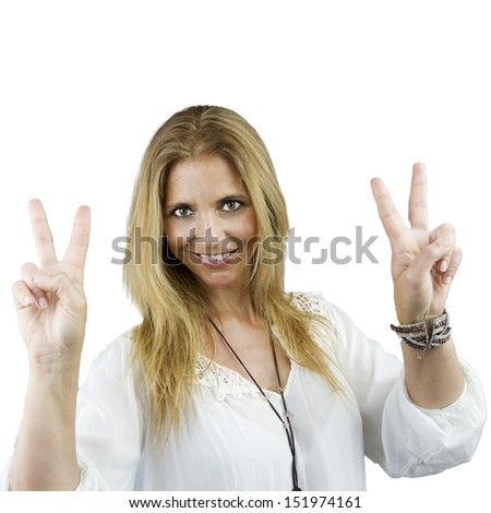 adult pretty woman with peace gesture - stock photo