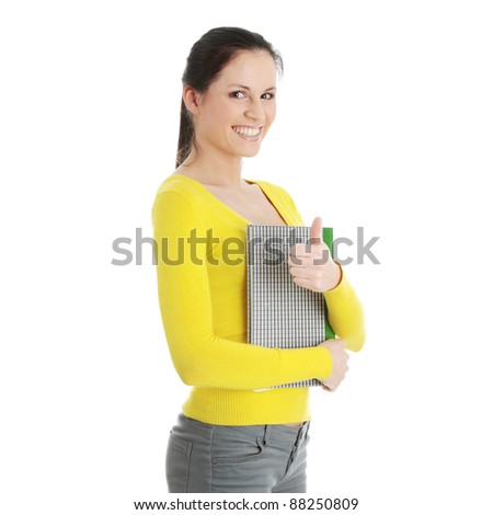 Adult student woman with thumb up isolated on white background - stock photo