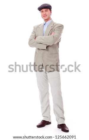 adult successful smiling man in casual business outfit isolated on white background - stock photo