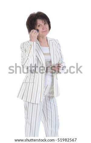 Adult woman deals cosmetics on the face. Isolated on white background - stock photo
