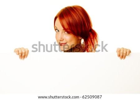adult woman showing with a blank billboard