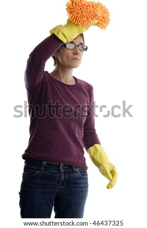 adult woman with cleaning gloves an sponge
