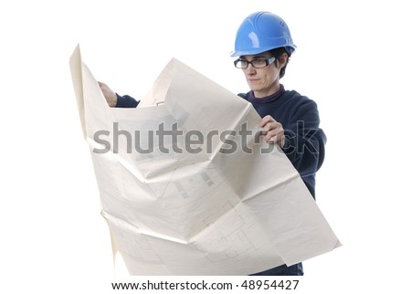 adult woman with house plans and protection helmet on white background