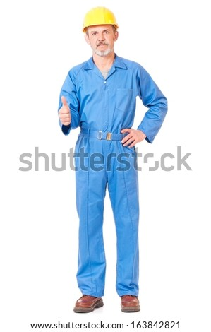 Adult worker in a uniform shows thumb up isolated on white background - stock photo
