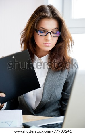 Adult Young Pretty Business Woman Working Stock Photo 97909253
