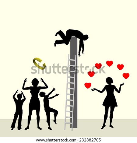 Adultery. Man starting affairs with another women deciding to divorce - stock photo