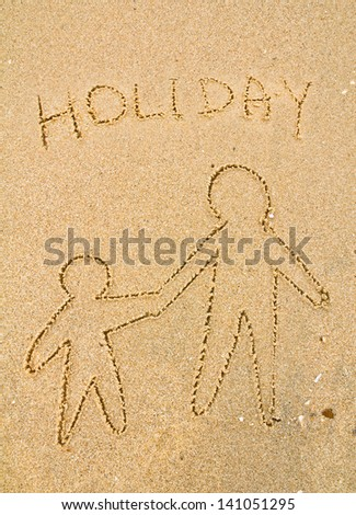 Adults and child drawn on the sand - stock photo