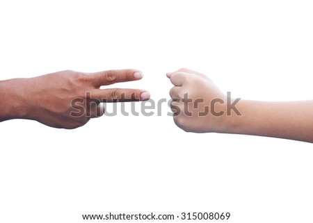 Adults hand and children hand isolated playing Rock Paper Scissors game