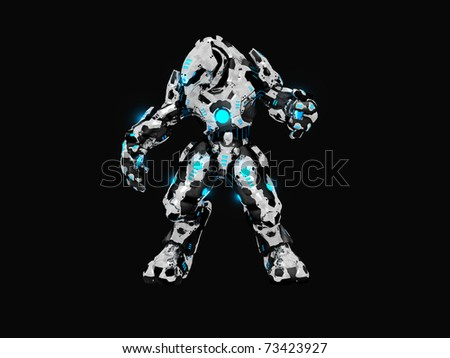 Advanced battle robot 3d render - stock photo