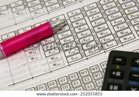 Advanced calculations (maths, physics, architecture) set with pink pencil and calculator - stock photo
