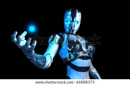 advanced cyborg soldier character - stock photo