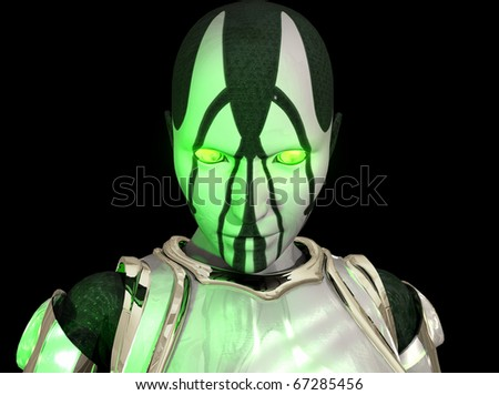 Advanced cyborg soldier 3d illustration - stock photo