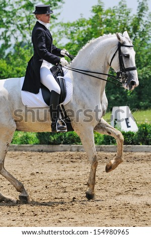Advanced Dressage test: pirouette - stock photo