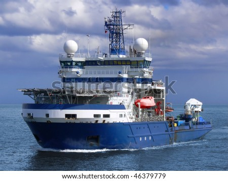 Advanced high tech ice breaking and offshore support vessel. - stock photo
