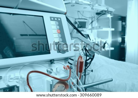 Advanced medical equipment in hospital ward - stock photo