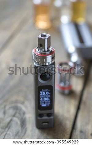 Advanced personal vaporizer or e-cigarette, close up - stock photo
