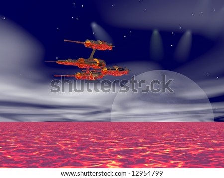 Advanced spaceship flying over an alien planet - stock photo