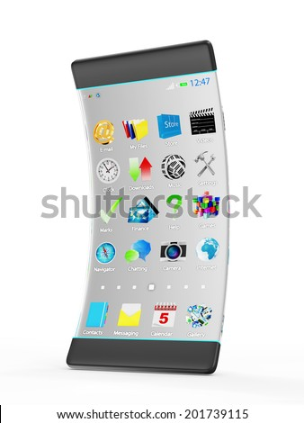 Advanced Technology and Innovation Concept. Modern Touchscreen Smart Phone with Transparent Display and Flexible Structure isolated on white background