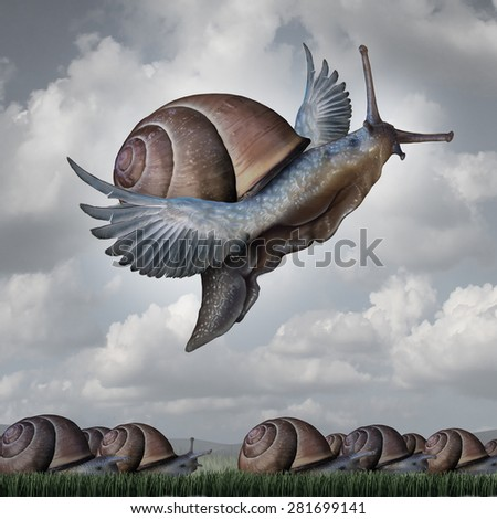 Advantage concept as a business metaphor with a surreal crowd of snails crawling on the ground with a flying snail with wings as a symbol for competitive innovation and to rise above the rest. - stock photo