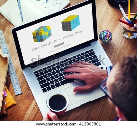 Advantage Disadvantage Comparison Solution Concept - stock photo