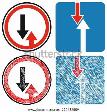 Advantage over oncoming traffic. Road signs priority. Raster version - stock photo