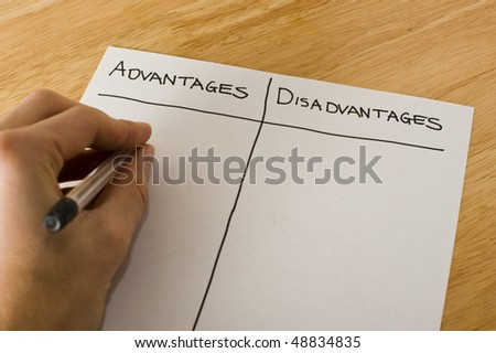 Advantages and Disadvantages - stock photo