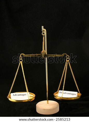 Advantages and disadvantages in the balance - stock photo