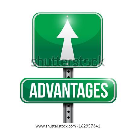 advantages road sign illustration design over a white background - stock photo