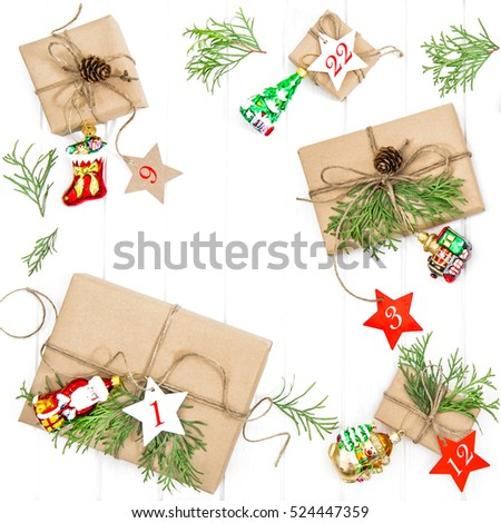 Advent calendar. Christmas gifts, ornaments and decorations on white background