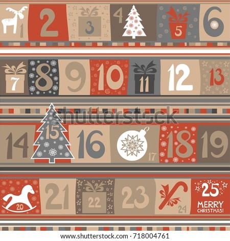 Advent Calendar 25 Windows Holiday Template Stock Illustration