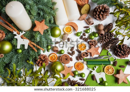 Advent wreath, do it yourself, divers materials, decoration - stock photo