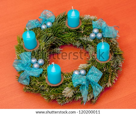 advent wreath on the table - stock photo