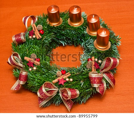 advent wreath on the table - stock photo