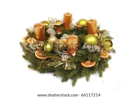 advent wreath with golden candles isolated on white - stock photo