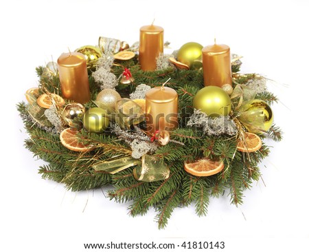 advent wreath with oranges and candles - stock photo