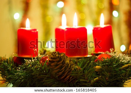 Advent wreath with red candles - stock photo
